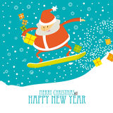 Greeting Christmas Card with Santa on a snowboard Stock Images