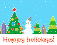 Greeting Christmas card, snowman in the forest with color patterns christmas trees.  Royalty Free Stock Photos