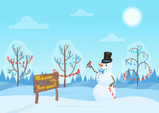 Greeting Christmas card, snowman in the forest. Happy New Year holidays. Alone Snowman in the woods. Stock Photo