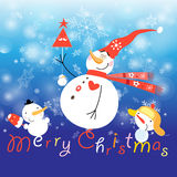 Greeting Christmas card with a snowman Stock Photography