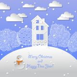 Greeting christmas card with snowman winter background Stock Photography