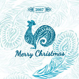 Greeting Christmas card 2017. With the symbol, the rooster. And stylized vintage feather pattern Stock Image