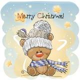Greeting Christmas card with Teddy Bear. Greeting Christmas card with Cute Cartoon Teddy Bear Royalty Free Stock Photo