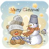Greeting Christmas card. Teddy, Snowman and bird Royalty Free Stock Photography