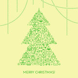Greeting Christmas card with tree made with outline icons Stock Image