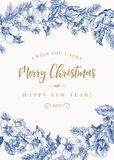 Greeting Christmas card in vintage style. Royalty Free Stock Image
