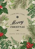 Greeting Christmas card in vintage style. Stock Images
