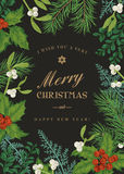 Greeting Christmas card in vintage style. Stock Photos