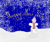 Greeting Christmas and Happy New Year Card with Snowman Royalty Free Stock Photography