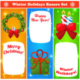 Greeting Christmas and New Year baners set. Happy New Year and Merry Christmas baners set. Vector Illustration, eps10 Royalty Free Stock Photography
