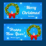 Greeting Christmas and New Year baners set Royalty Free Stock Image