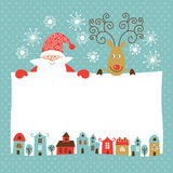 Greeting Christmas and New Year car. Santa Clause and Deer Royalty Free Stock Image