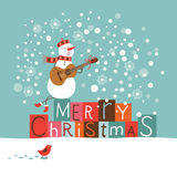 Greeting Christmas and New Year card. Singing snowman stock illustration