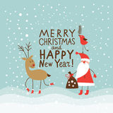 Greeting Christmas and New Year card. Santa Clause and Deer Royalty Free Stock Images