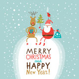 Greeting Christmas and New Year card Royalty Free Stock Image