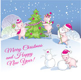 Greeting Christmas and New Year card with nice pigs. Royalty Free Stock Image