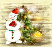 Greeting Christmas and New Year card with snowman holding gift o Stock Photos
