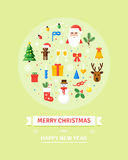 Greeting Christmas and New Year card. Winter holidays elements. Set of characters, objects -  illustration in flat style. Royalty Free Stock Photo