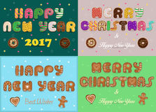 Greeting christmas and new year cards. Artistic fonts. Texts Merry Christmas, Happy New Year. Best wishes. Cookies and donuts Royalty Free Stock Photos