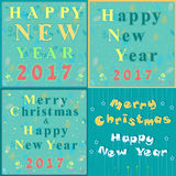 Greeting christmas and new year cards Stock Images