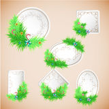 Greeting Christmas and New Year paper card with decorations Stock Photography