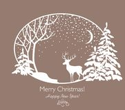 Greeting Christmas retro card with cut out paper firs, tree, reindeer and snowfall. Greeting Christmas retro card with cut out paper firs, tree, crescent Stock Photo
