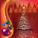 Greeting with Christmas tree and decorations Royalty Free Stock Photos