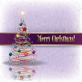 Greeting with Christmas tree on grunge background. Greeting with Christmas tree on grunge light background Royalty Free Stock Photography