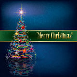 Greeting with Christmas tree on grunge background. Greeting with Christmas tree on blue grunge background Royalty Free Stock Images