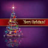 Greeting with Christmas tree on grunge background. Greeting with Christmas tree on purple grunge background Stock Photos
