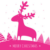 Greeting christmass card with deer. Vector. easy to scale and modify Stock Images
