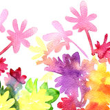 Greeting colorful card flowers. Abstract background. Watercolor illustration Stock Photo