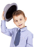 Greeting cool pretty stylish little boy Stock Photos