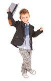 Greeting cool pretty stylish little boy Royalty Free Stock Photo