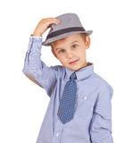 Greeting cool pretty stylish little boy Royalty Free Stock Image