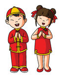 Greeting couple for chinese happy new year. Illustrator design .eps 10 Royalty Free Stock Photo