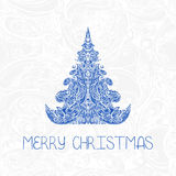 Greeting decorative card with christmas tree Royalty Free Stock Images