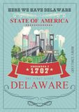 Greeting from Delaware vector illustration with colorful detailed landscapes. The first state. Greeting from Delaware vector illustration with colorful detailed Vector Illustration