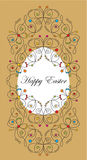 Greeting easter card. With egg and filigree butterfly decoration Royalty Free Stock Photos
