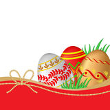 Greeting Easter card with decorative eggs and grass Royalty Free Stock Photo