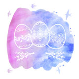 Greeting Easter card with decorative eggs on watercolor backgrou Stock Photos