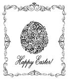 Greeting easter card with decorative floral egg black and white Royalty Free Stock Image
