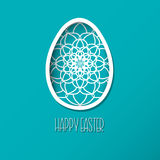 Greeting Easter Card with egg with ornamental pattern. Cute styl Stock Photos