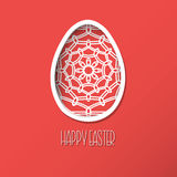 Greeting Easter Card with egg with ornamental pattern. Cute styl Royalty Free Stock Photos