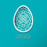 Greeting Easter Card with egg with ornamental pattern. Cute styl Royalty Free Stock Images