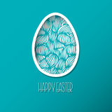 Greeting Easter Card with egg with wave pattern. Cute Doodle sty Royalty Free Stock Photo