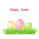 Greeting Easter card with eggs. Stock Image