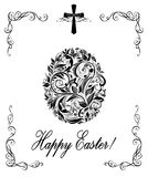 Greeting easter card with floral vintage egg shape black and white Royalty Free Stock Photos