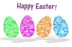 Greeting Easter card with a set of colored Easter eggs stock illustration