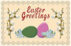 Greeting Easter card with the inscription. Vector illustration. Vector Greeting Easter card with colorful painted eggs, branches of willow and spring flowers Royalty Free Stock Photos